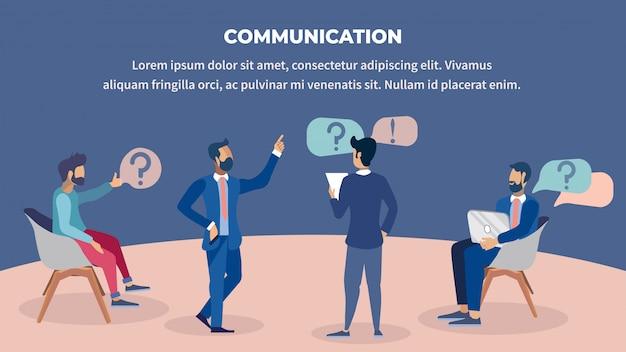 Business communication flat color illustration