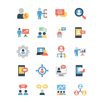 Business and communication flat icons pack