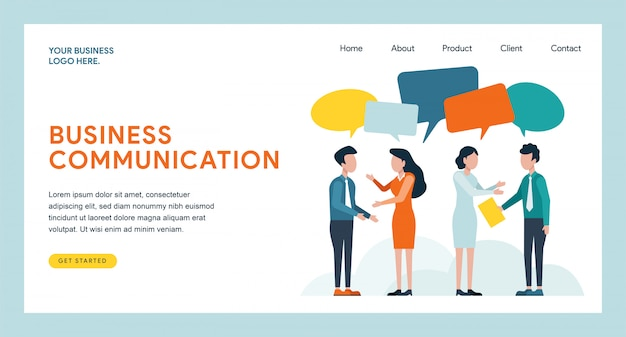Business communication landing page