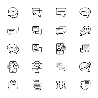 Business communication line icons pack