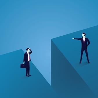 비즈니스 커뮤니케이션 문제. 큰 간격으로 구분 된 두 사업가