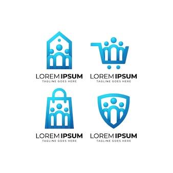 Business community logo design set
