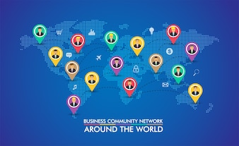 Business community network with the world map