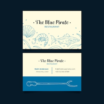 Business company card the blue pirate restaurant