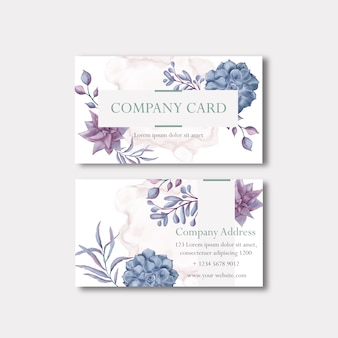Business company card with luxury floral frame template