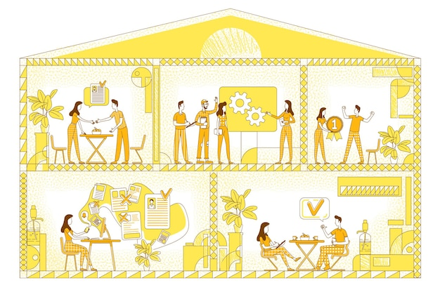 事業会社フラットシルエット。会社の労働者は黄色の背景に文字の輪郭を描きます。本社、コワーキングスペース、職場断面のシンプルなスタイルの図面