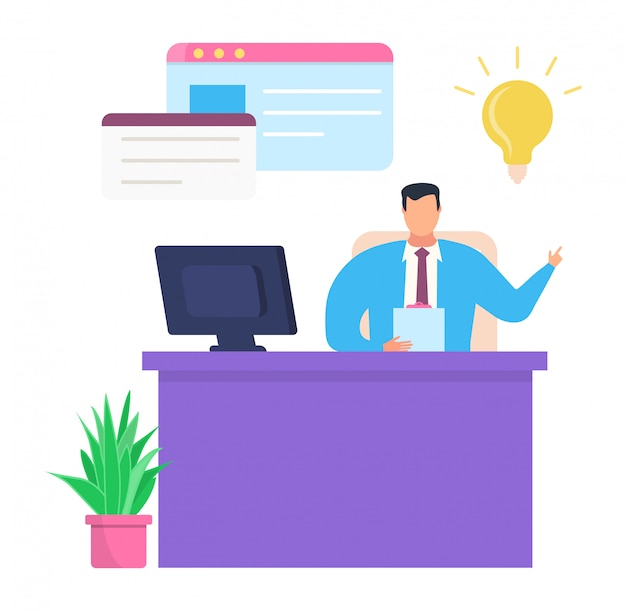 事業会社のリーダーは、成功したアイデア、白、図の職場で男性キャラクターチーフ書類を計画します。