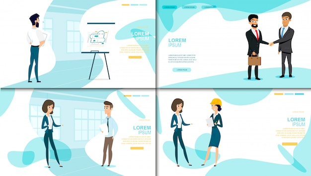 Business company vector landing page collection