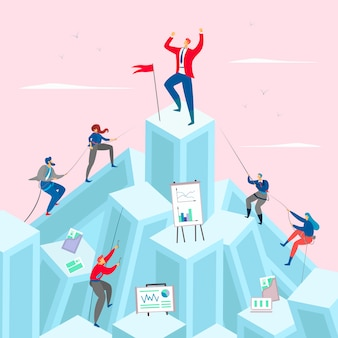 Business competition concept illustration. businessman on the top pf the mountain. competitive businessmen climb up.