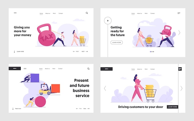 ビジネス競争の概念のランディングページセット