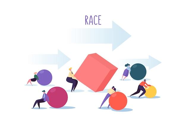 ビジネス競争の概念。人物のキャラクターは幾何学的な形を動かします。チームワークのリーダーシップと戦略。ビジネスマンとの競争競争。
