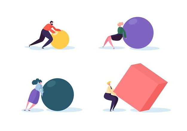 Концепция деловой конкуренции. персонажи людей перемещают геометрические фигуры. руководство и стратегия командной работы. соревновательная гонка с бизнесменами.