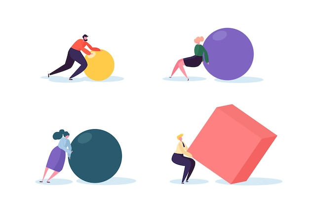 Business competition concept. people characters move geometric shapes. team work leadership and strategy. competitive race with businessmen.