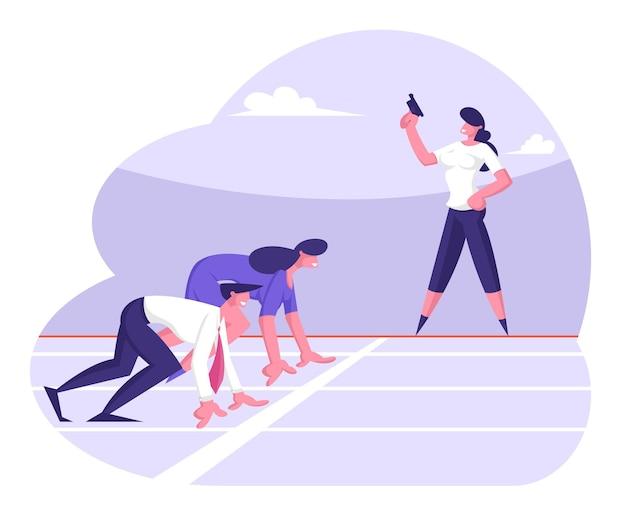사업가와 비즈니스 경쟁 개념