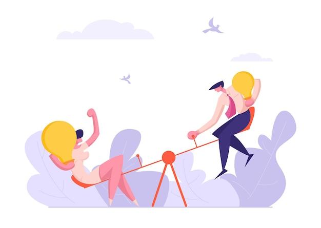 男性と女性のイラストとビジネス競争の概念