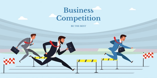 Business competition flat banner isolated on blue