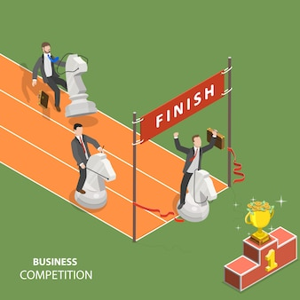Business competition flat isometric low poly vector concept.