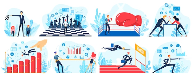 Business competition  illustration, cartoon  people run to finish line in race, business man and woman pulling rope, fighting