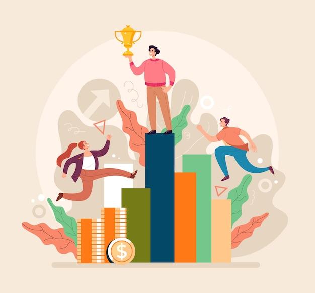 비즈니스 경쟁 기회 파트너십 팀워크 개념입니다. 플랫 만화 일러스트 레이션