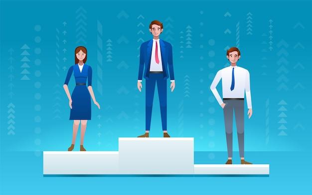 비즈니스 경쟁 우승자. 1 위, 2 위, 3 위의 연단에 서있는 사람들. 경력 성취.