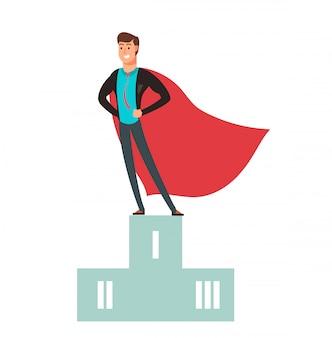 비즈니스 경쟁 우승자. 연단에 서있는 슈퍼 영웅 남자