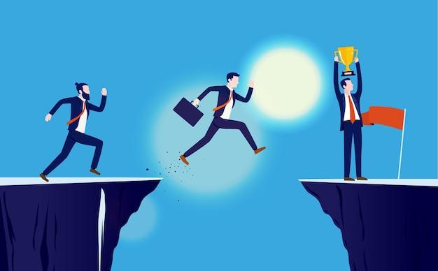 目標に向かって走っているビジネスマンとのビジネス競争
