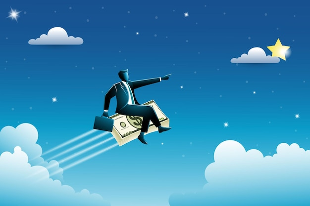 비즈니스 개념, 스타, 성공 상징에 도달하기 위해 하늘에 돈의 스택을 비행에 앉아 가방을 들고 사업가