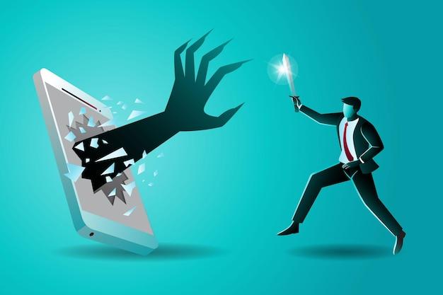 Бизнес-концепция, бизнесмен, держащий меч, сражающийся с большой рукой, которая появляется из сотового телефона