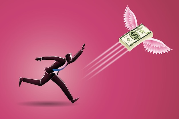 Бизнес-концепция, бизнесмен бежал за пачкой летающих денег