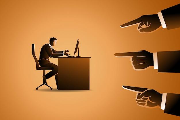 ビジネスコンセプト、3つの大きな手で指されている机の上のコンピューターで作業する男