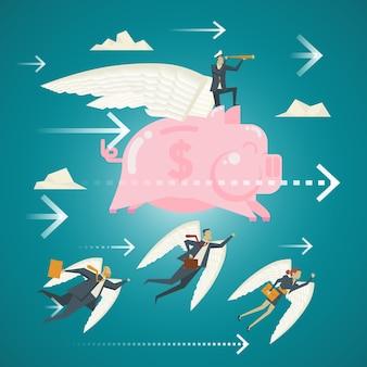 비즈니스 개념, 돼지 저금통 미소 날개를 가진 하늘에서 비즈니스 전문가의 팀.