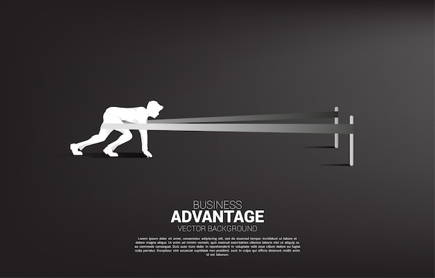 Business concept of and business advantage. silhouette of businessman ready to run with catapult sling shot
