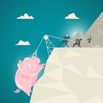 사업 개념, 사업 팀 핑크 돼지 저금통을 당겨 도움이됩니다. 심연의 바닥에서 위로