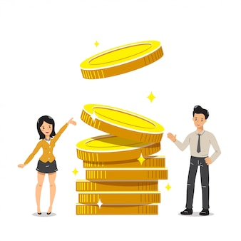 Business concept  businessman and businesswoman with big coins stack