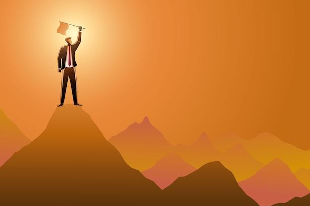 사업 개념, 사업가 산 위에 깃발을 보유