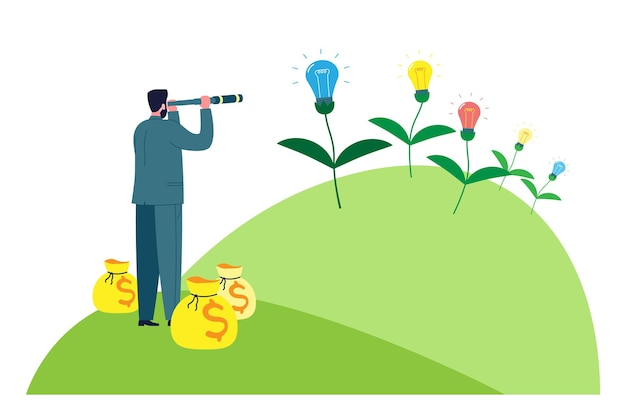 비즈니스 개념입니다. 사업가 투자자는 투자에 대한 새로운 아이디어를 찾고 있습니다. 시작은 유. 벡터 만화 평면 그림입니다.