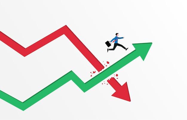 비즈니스 개념. 녹색 화살표 그래프 그림 위로 점프하는 사업가.
