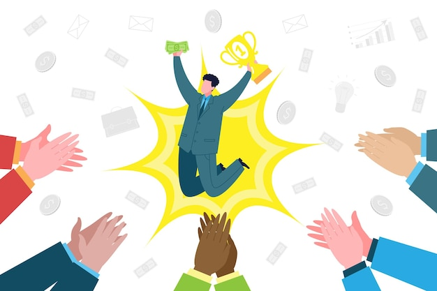 Business concept. the businessman and partners rejoice at the success and profit from the good deal and applaud. teamwork, coworking, collaboration and business partnerships.