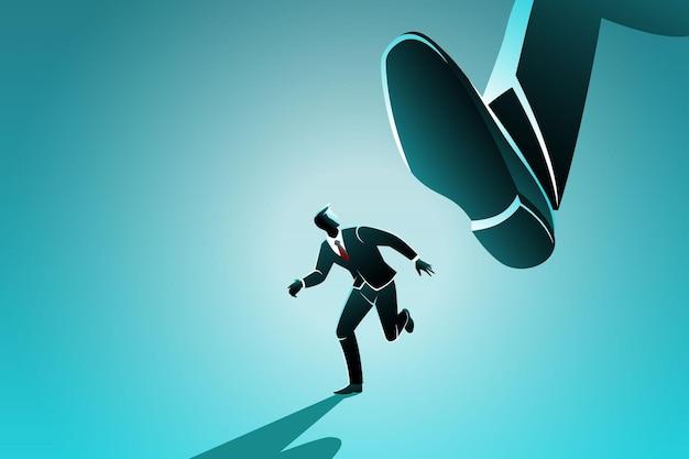 Business concept, a businessman runs from big foot