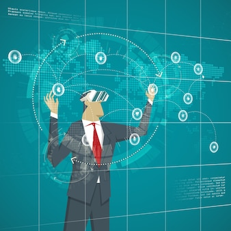 Business concept. businessman wearing virtual reality glasses management business lines. transactions on the map in the virtual world