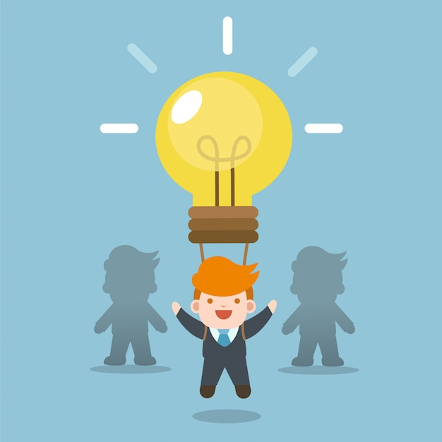 Business concept. businessman with idea bulb balloon, stand out from team.