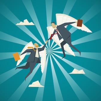 사업 개념, 동료 사업 사람들을 당겨 도움이 확장 날개를 가진 사업가.