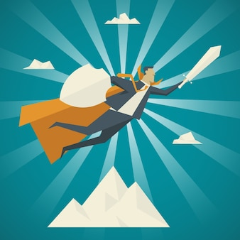 Business concept. businessman with yellow veil and holding a sword, shield, flying to the sky.