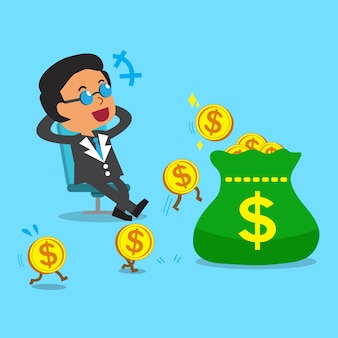 Business concept cartoon business boss earning money