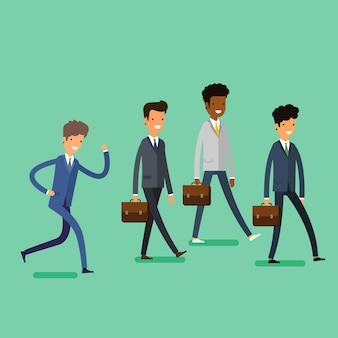 Бизнес-концепция. ходьба деловых людей шаржа. плоский дизайн, векторные иллюстрации