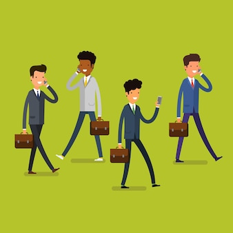 Business concept. cartoon business people walking and talking on the mobile phones. modern lifestyle. flat design, vector illustration.