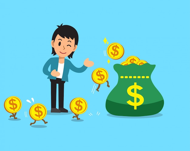 Business concept cartoon businessman earning money