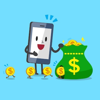 Business concept cartoon smartphone earning money