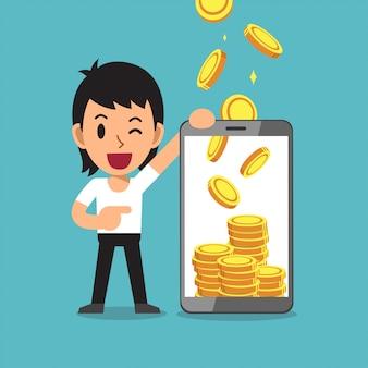 ビジネスコンセプト漫画スマートフォンはお金を稼ぐ男を助ける