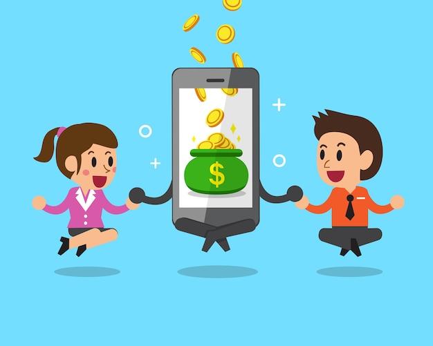 Бизнес-концепция мультяшный смартфон помогает деловым людям зарабатывать деньги